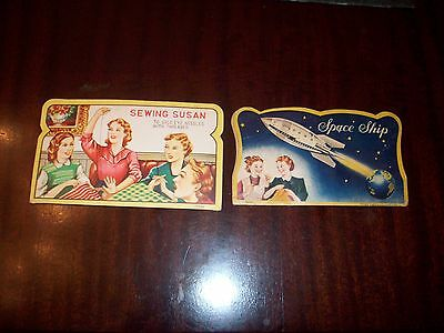 2 Vintage Needle Packs / Space Ship & Sewing Susan VG COND CHEAP NO RESERVE