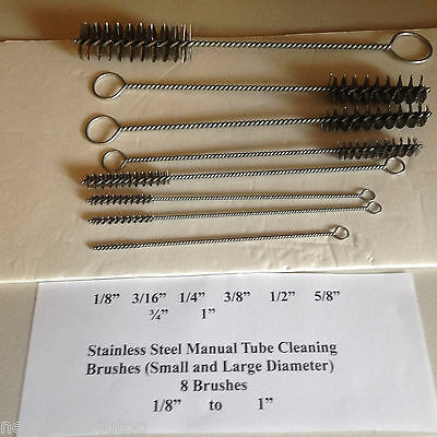 Stainless Stl. Tube Cleaning Brushes (manual) small & large  diameter-  8  pack)