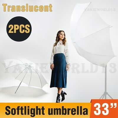 "2Pcs Photography Studio Reflector 33"" Translucent White Diffuser Flash Umbrella"