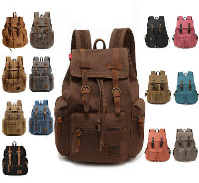 Travel Canvas Leather Backpack Sport Rucksack Camping School Satchel Hiking Bag