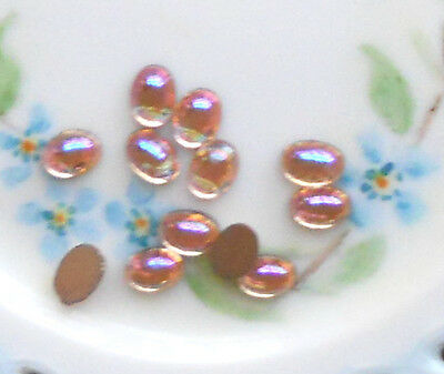 Vintage Glass Cabochons Amethyst Smooth 12x10mm Oval NOS Flat Bottom #1206B