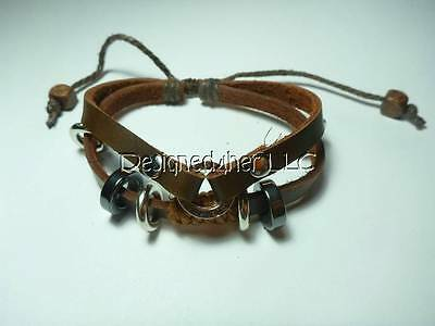 """Mens leather bracelet brown with silver tone rings gift valentine's day 7""""-11"""""""