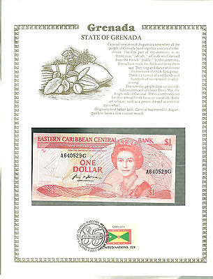 GRENADA 1 dollar Banknote WORLD CURRENCY COLLECTION Paper Money UNC Stamp MINT