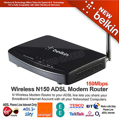 Belkin Wireless N150 150Mbps ADSL Modem Router for BT/ Phone Connections F9J1004