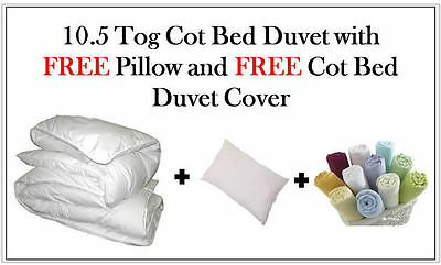 10.5 Tog Cot Bed Duvet Quilt + Free Pillow + Duvet Cover, Nursery, Baby, Toddler