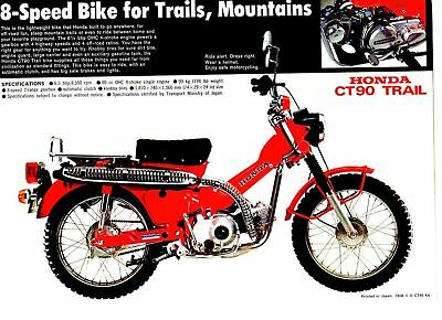 1974 HONDA CT90K6 Trail 1 Page Motorcycle Brochure NOS