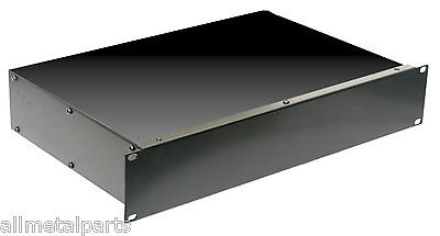 2U 19 Inch 300mm Non Vented Rack Mount  Electronic Chassis Case Enclosure Black