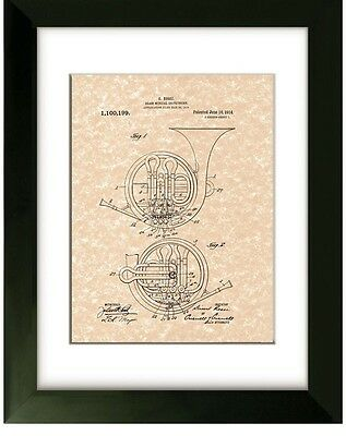 United States Patent Office Brass Horn US Patent Print G. Rossi Instrument Art
