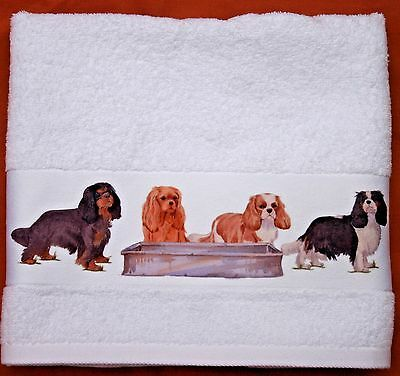CAVALIER KING CHARLES SPANIEL DOG large hand guest towel Off to the Dog Show