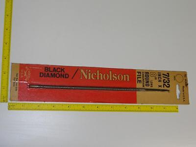 "VTG Nicholson Chainsaw File NOS Black Diamond #01888 7/32"" Round 8"" USA Rare MOC"