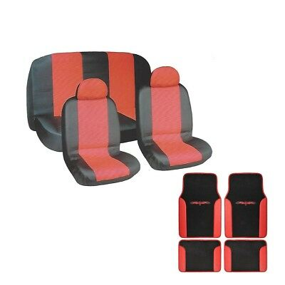18pc PU Faux Leather Seat Covers Floor Mats Steering Wheel Cover Black and Red