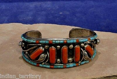Navajo Indian Sterling Silver Bracelet with Five Coral Settings and Heishi