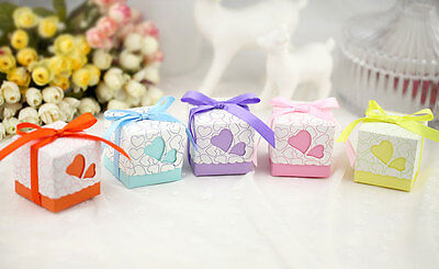 Twin Heart - Birthday Baby Shower Party Wedding Bomboniere/Favour Boxes+Ribbon