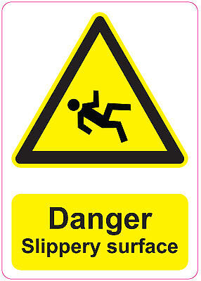 DANGER  SLIPPERY SURFACE health and safety signs stickers warning 205x290mm