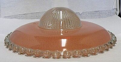Old Frosted Pink With Clear Glass Ceiling Light Fixture Shade