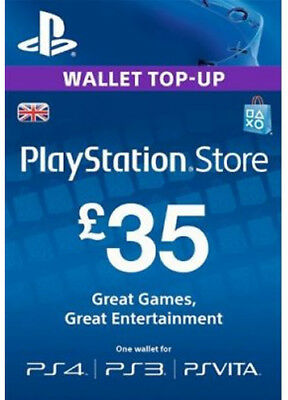 UK £35 PLAYSTATION NETWORK Prepaid Card GBP PSN für PS3 PS4 PSP Key Code