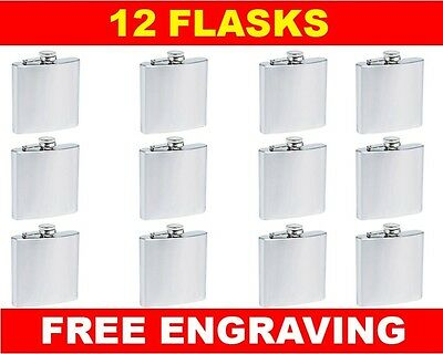 12 Personalized Flasks 6oz groomsmen usher best man bridesmaid engraved gift