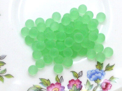 #667 Vintage Glass Balls 5mm Eyes Mint Round No Hole Marbles Solid NOS Green