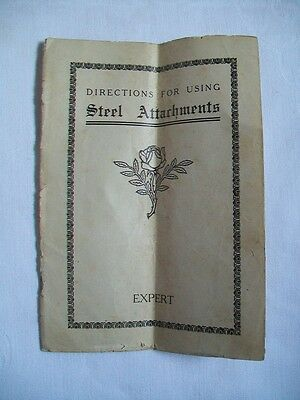 Booklet containing Directions for using Steel Attachments on a Sewing Machine