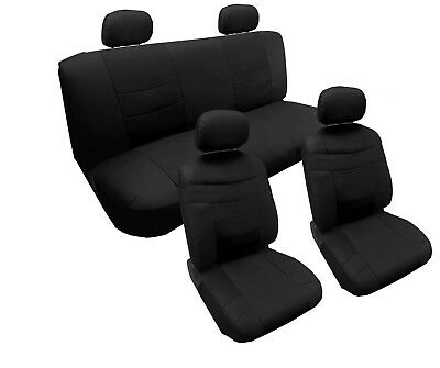 Solid Black Superior PU Faux Leather Vinyl Seat Covers 13pc Honda Civic