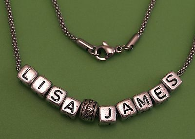 Hand Made Personalised Any Name Necklace on Stainless Steel Chain