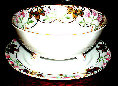 VINTAGE NIPPON MAYONNAISE SET/SOUP BOWL FOOTED W UNDERPLATE FLORAL  PORCELAIN