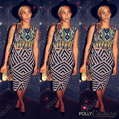 Womens Celeb Two Piece Bodycon Tribal Aztec Skirt Crop Top Party Playsuit Dress