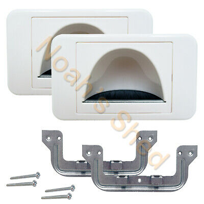 2 Bull Nose Bullnose Reverse Cable Inwall Management Wall Plate Wallplate White