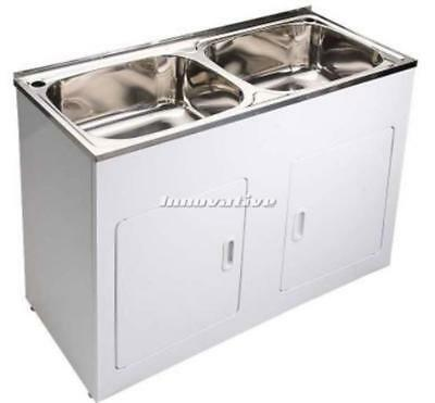 Base Laundry Trough : Dual Laundry Trough Sink and Cabinet White Metal 2x 45 Litre Stainless ...