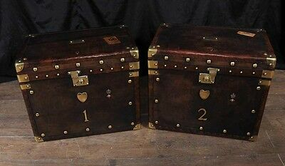 Pair Leather Luggage Trunks Side Coffee Tables Brass Fixtures