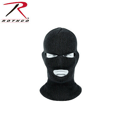 Three Hole Acrylic Cold Weather Face Mask Black Military Wintuck Rothco 5516
