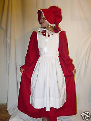 Kellys Costumes Handmade Period Clothing Colonial Dress Girl ~Red Pioneer~ 4/5