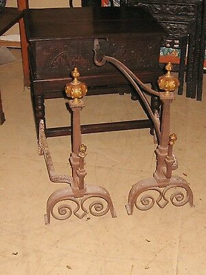 Pair Antique Arts and Crafts Andirons Wrought Iron Yellin or Yellin Type