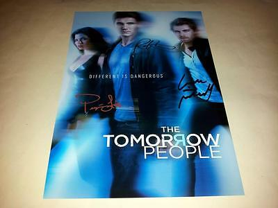 "The Tomorrow People Cast X3 Pp Signed 12"" X 8"" Poster Robbie Amell Luke Mitchell"