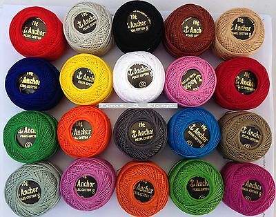 20 Anchor Pearl Cotton Crochet Balls Best Colour Selection Size 8(85 Meter each)