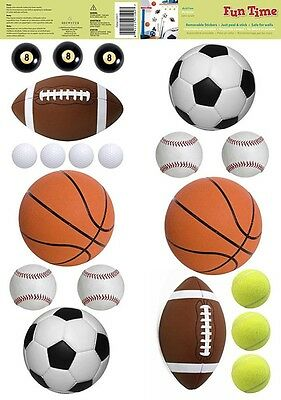 SPORTS BALLS 20 Removable Wall Decals SOCCER FOOTBALL BOYS Room Decor Stickers