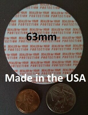 63mm Press & Seal Cap Liners ~ Foam Safety Tamper Seals ~ Made in the USA