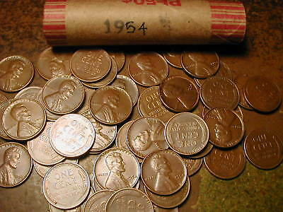 1954-P LINCOLN WHEAT CENT FULL ROLL, 50 COINS, nice condition