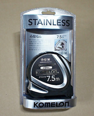 New Komelon STAINLESS POWERBLADE Tape Measure 7.5m x 27mm Metric Korea