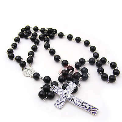 Rosary Beads - Religious Silver Black Bead Cross Mary Prayer Rosaries Necklace