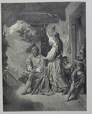 Antique Print. Stouffacher Admonished by his Wife. Switzerland, 1881.
