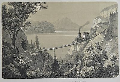 Antique Print. The Rigi Railway,  Mount Pilatus. Switzerland, 1881.