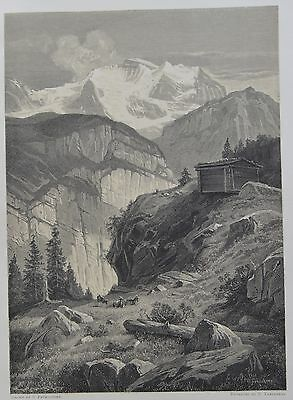 Antique Print. The Jungfrau. Switzerland, 1881.