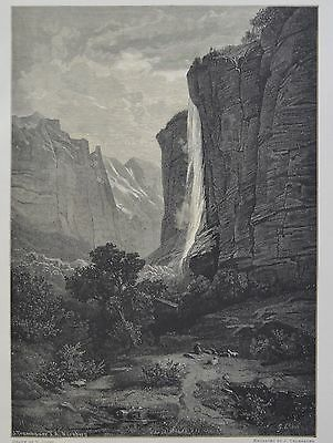 Antique Print. The Staubbach, Valley of Lauterbrunnen. Switzerland, 1881.