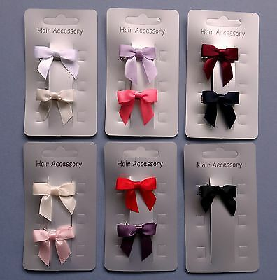 2 x Tied Satin Bow Hair clips for Girls or Baby (30mm)- you choose both colours!