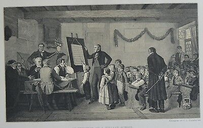Antique Print. Examination of a Village School. Switzerland, 1881.