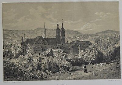 Antique Print. St. Gall. Switzerland, 1881.
