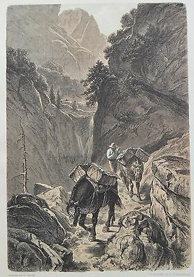 Antique Print. Packhorses Traversing a Mountain Pass. Switzerland, 1881.
