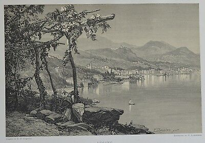 Antique Print. Lugano. Switzerland, 1881.