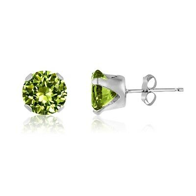 Round Lime Green CZ .925 Solid Sterling Silver Stud Earrings - Choose Your Size